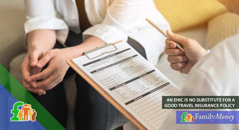 A doctor is filling out paperwork relating to an EHIC
