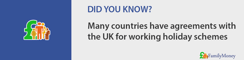 Many countries have agreements with the UK for working holiday schemes