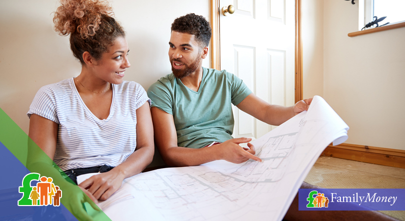 A couple are shown planning home improvement work