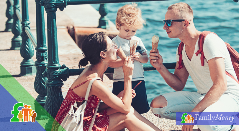 A family is shown on holiday enjoying ice cream