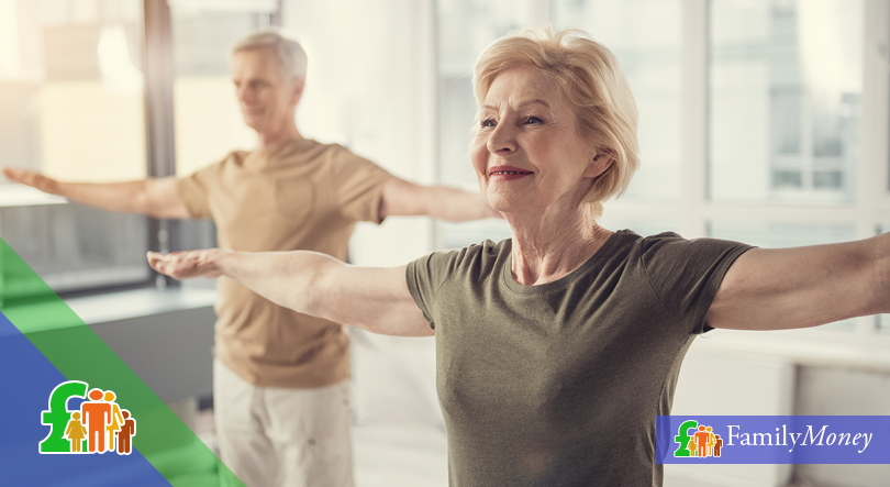 A pensioner couple are shown exercising