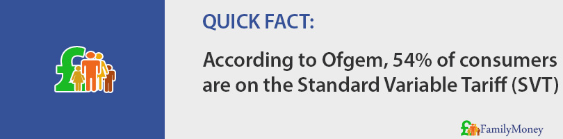 According to Ofgem, 54% of consumers are on the Standard Variable Tariff (SVT)