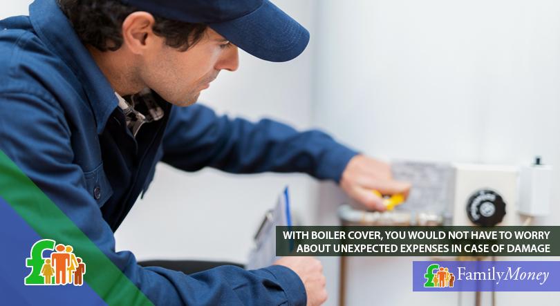 A plumber is shown repairing a boiler