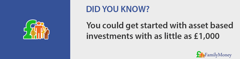 You could get started with asset based investments with as little as £1,000