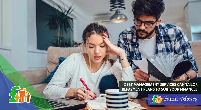 A couple are considering using a debt management service