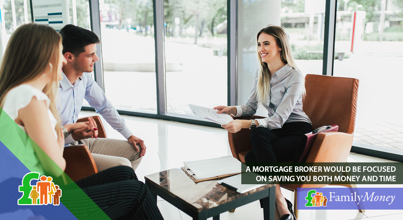 A couple are shown meeting with a mortgage broker