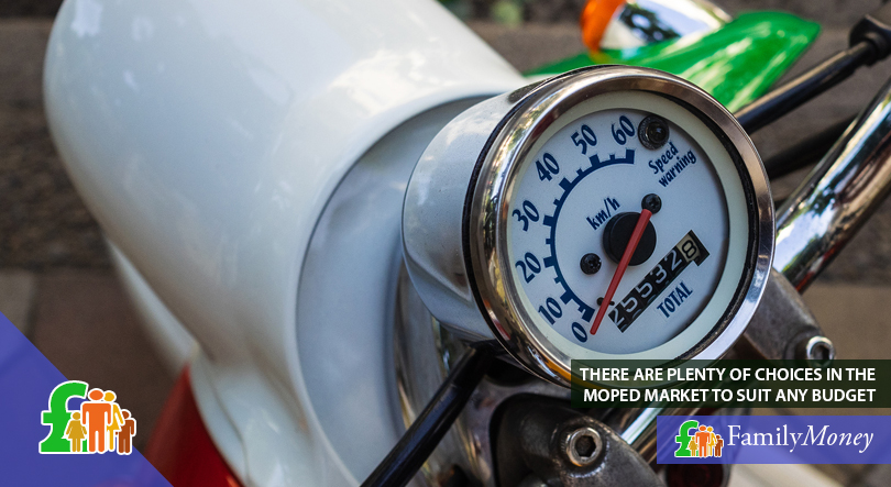 A moped speedometer on a vintage bike