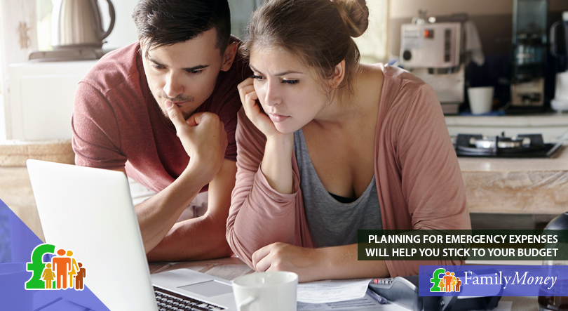 A young couple are depicted planning their family budget