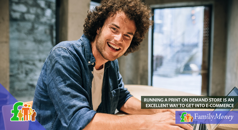 A man is shown working online on print on demand business