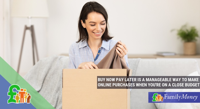 Woman uses buy now pay later service to buy clothes online