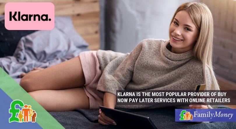 Woman using Klarna to buy now pay later