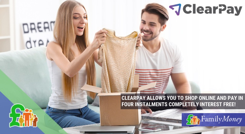 Girl buying clothes online using Clearpay as a payment option